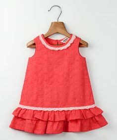 Look at this Beebay Coral Lace Drop-Waist Dress - Infant & Toddler on #zulily today!