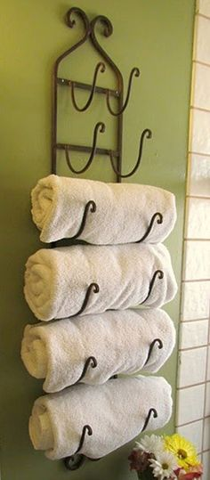 If I ever get a guest bathroom this is going in it. Wine rack recreated as a towel holder . for a guest bathroom? Home Organization, Home Projects, Home Improvement, Towel Holder, Home Deco, Sweet Home, Home Diy, Bathroom Decor, White Towels