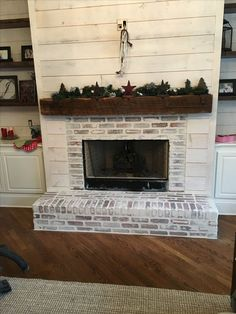 10 Cheerful Cool Ideas: Old Wood Fireplace simple fireplace country living.French Limestone Fireplace fireplace shelves one side.Fireplace Shelves One Side. White Wash Brick Fireplace, Brick Hearth, Painted Brick Fireplaces, Paint Fireplace, Brick Fireplace Makeover, Shiplap Fireplace, Rustic Fireplaces, Farmhouse Fireplace, Home Fireplace