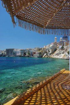 Welcome Mixer at Asteria Beach Bar Syros Greece, Santorini Greece, Greece Wallpaper, Greek Beauty, Beach Bars, Greek Islands, Greece Travel, Amazing Destinations, Vacation Spots