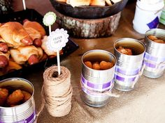 campfire party - hot dogs - taters - s'mores. Love the idea of serving out of tin cans.