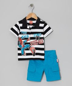 Another great find on #zulily! Black & Blue Stripe 'Spider-Man' Polo & Shorts - Toddler & Boys by Spiderman #zulilyfinds