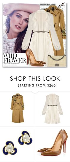 """""""Celeb: Keira Knightley"""" by coraline-marie ❤ liked on Polyvore featuring Chanel, River Island, Giambattista Valli and Christian Louboutin"""