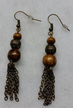 Wooden Bohemian Dangle Earrings by BSODesigns on Etsy