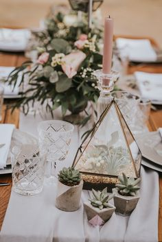 Wooden Hexagonal Arch and Geometric Inspiration with Terrariums, Blush Pink Flowers, Candles and Romantic Lace Wedding Dresses by Grace Nicole Photography Wedding Planning Inspiration, Spring Wedding Inspiration, Wedding Planning Tips, Terrarium Wedding, Terrarium Table, Wedding Fayre, Wedding Company, Blush Pink Weddings, Geometric Wedding