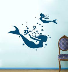 Adesivo Mermaid Mermaid pesci d'acqua M695 di deinewandkunst su DaWanda.com