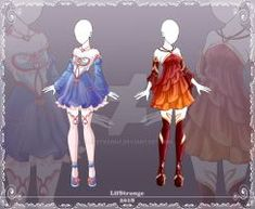 [Close] Adoptable Outfit Auction by LifStrange on DeviantArt Clothing Sketches, Dress Sketches, Fashion Sketches, Dress Drawing, Drawing Clothes, Character Outfits, Character Art, Anime Dress, Animation