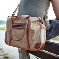 Waxed canvas and leather #briefcase for your laptop and all your daily necessities. Durable #waterproof fabric, minimalist design and a variety of different pockets are the basis of this model. All the materials we used in this bag are natural and quality from world-known manufacturers.