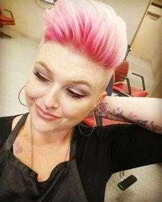 Pink shadow root, shaved sides, pixie cut ❤
