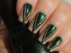 Loki inspired nails. China Glaze 'Emerald City' 'Oz' Evanora. (1600×1200)