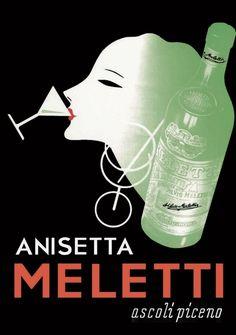 Meletti Anisette Alcohol Art Poster Advertisement.  Anisetta Meletti, poster e illustrazioni pubblicitarie.