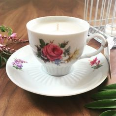 The colourful 'Azalea' teacup is part of our unique and recycled Vintage Collection.