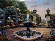 "Art Print By JOHN ZACCHEO Mediterrian Garden ZA0505 Size (22"" x 28"")"