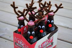 Cute Christmas gift when told not to bring anything. I think a Santa hat instead of antlers would make perfect Santa sodas!