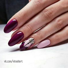 Nails - almond, stiletto and oval shape. Gelish Nails, Nail Manicure, Toe Nails, Almond Acrylic Nails, Almond Nails, Fancy Nails, Pretty Nails, Latest Nail Art, Geometric Nail