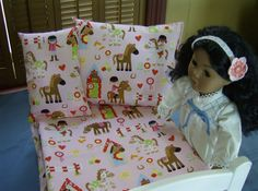 Horse Themed Doll Bedding Set for American Girl by greenlioness, $25.00