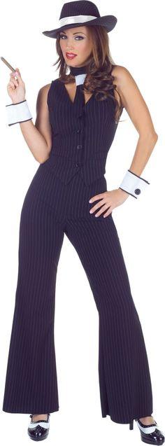 Women/'s Fever Lady Gangster Fancy Dress Costume Peaky Blinders Hen Theme Fun