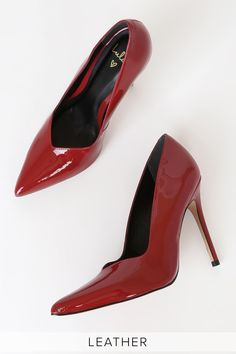 You'll feel like a total boss babe in the Lulus Lynda Red Patent Leather Pointed-Toe Pumps! Sexy genuine patent leather pointed-toe pumps with stiletto heel. Pointed Toe Pumps, Stiletto Heels, High Heels, Red Wedding Shoes, Charlie Brown And Snoopy, Boss Babe, Patent Leather, Size 10, Friends