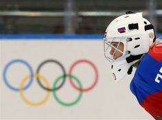 Yulia Leskina #20 of Russia looks on from the ice against Germany during the Women's Ice Hockey Preliminary Round Group B Game