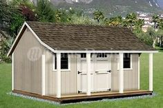 12' x 16' Shed with Porch Pool House Plans P81216 Free Material List   eBay