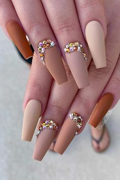 41 Pretty Nude Coffin Nails That Anyone Can Pull Off | Page 2 of 2 | StayGlam Bling Acrylic Nails, Bling Nails, Perfect Nails, Gorgeous Nails, Stylish Nails, Trendy Nails, Acrylic Nail Designs, Nail Art Designs, Coffin Shape Nails
