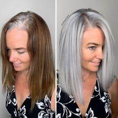 Hairdresser-Gray-Hair-Makeovers-Jack-Martin Grey Hair Transformation, Curly Hair Styles, Natural Hair Styles, Gray Hair Highlights, Professional Hair Color, Grey Wig, Brazilian Hair, Hair Inspiration, Hair Cuts