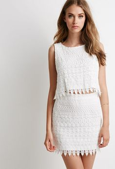 c468e4808c Forever 21 Ornate Lace Crop Top And Skirt Set In White Lyst Crop Top And  Skirt