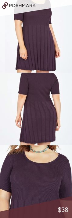 NWT Knit Dress by JustFab Beautiful Plum Stretch Knit Dress WITH TAGS  True to Size- I have the same dress in another color.    My Opinion- JustFab has excellent quality items, including their plus size clothes! ♥ Feel free to ask any questions. JustFab Dresses
