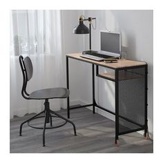 IKEA FJALLBO Black Laptop table FJÄLLBO Laptop table IKEA With this rustic metal and solid wood desk you get a flexible and functional workspace which fits in a small space. Home Office Design, Home Office Decor, Office Style, Fjällbo Ikea, Home Office Furniture, Furniture Design, Geometric Furniture, Furniture Ads, Furniture Websites