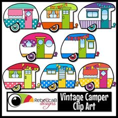 Vintage Camper Clip Art, Retro Camper clipart, contains 36 images. 30 colored plus 6 black and white. The Vintage Campers come in many retro color combinations with random patterns and some have pennant banners draped across the top.Import these cute campers into your editing program, such as PowerPoint, to create fun resource covers or teaching materials.Vintage Camper Clip Art by RebeccaB Designs.