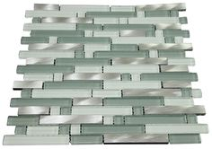 """Glossy Green and White & Silver Aliminum Authentic Glass Mosaic Tiles Sheet Size: 12 1/2"""" x 11 3/4"""" x 3/8"""" Tile Size: Randoms Type: Glass, Aliminum Finished: Glossy, Matte, Polished HTCMS13"""