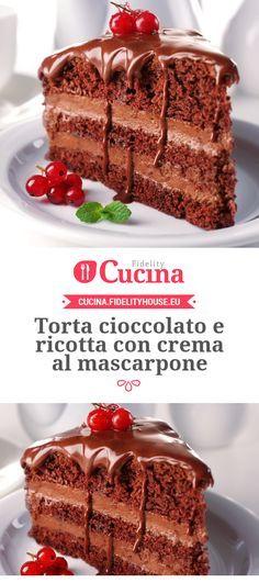 Torta cioccolato e ricotta con crema al mascarpone Italian Desserts, Just Desserts, Delicious Desserts, Sweets Recipes, Cake Recipes, Cake Cookies, Cupcakes, Torte Cake, Ricotta