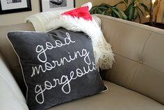 Good morning to you too! Holiday Home Tour Sans the Tree House Tours, Good Morning, Christmas Tree, Joy, Throw Pillows, Blanket, Holiday, Buen Dia, Teal Christmas Tree