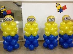 Minions balloon decor (stack balloons pushed into styrafone Minions Birthday Theme, Minion Theme, 3rd Birthday Parties, Birthday Party Decorations, 2nd Birthday, Birthday Balloons, Birthday Ideas, Minion Balloons, Despicable Me Party