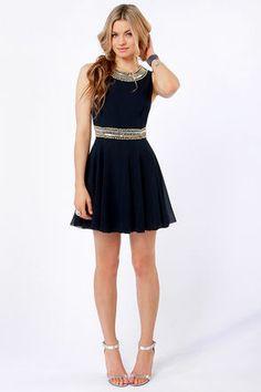 TFNC Hope Dress - Navy Blue Dress - Beaded Dress - $115.00- lulus