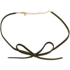 DOSE of ROSE Suede Bow Choker in Khaki ($14) ❤ liked on Polyvore featuring jewelry, necklaces, green, green necklace, bow choker necklace, green chain necklace, rose choker and green choker