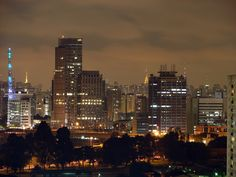 Skyline at Night, Sao Paulo, Brazil.