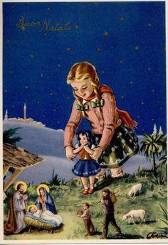 Serie Completa di 6 cartoline Bambini nel Presepe Bambola Natale PC Circa 1940