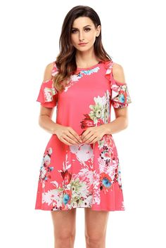 Chic Ruffled Cold Shoulder Rosy Floral Dress ChicLike.com