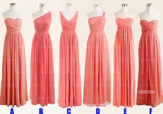 Peach bridesmaid dresses, cheap bridesmaid dresses, chiffon bridesmaid dresses, dresses for prom, long bridesmaid dresses, RE410 @Angie Kate @Laurie-Anne King