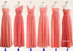 Peach bridesmaid dresses, cheap bridesmaid dresses, chiffon bridesmaid dresses, dresses for prom, long bridesmaid dresses, RE410 @Angie Kate @Laurie-Anne King