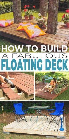 Building A Floating Deck, Building A Deck, Floating Deck Plans, Floating Garden, Diy Deck, Diy Patio, Pallet Patio, Pallet Planters, Pallet Fence