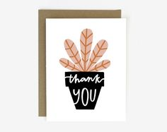 Thank You Potted Plant Screen Printed Folding Thank You Card Printing Ink, Silk Screen Printing, Thank You Gifts, Thank You Cards, Screen Plants, Mother Card, Boho Diy, Card Patterns, Potted Plants