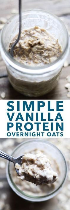 These Simple Vanilla Protein Overnight Oats contain very few ingredients, making for a simple, quick to-go breakfast option. Make them the night before and grab Healthy Snacks, Healthy Eating, Healthy Recipes, Healthy Brunch, Breakfast Healthy, Clean Eating Recipes, Cooking Recipes, Freezer Recipes, Freezer Cooking