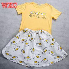 Kawaii Eggs Printing T shirt School Clothes Uniform Japanese Lolita Short  Sleeve Girls Tops Summer Harajuku. Polerones MujerTops De ... 279570ca1ec3