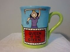 LAURIE VESSEY LARGE COFFEE MUG QUEEN OF THE GREEN GOLF EUC #Nike