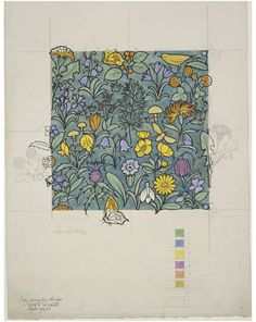 Textile design | Charles Francis Annesley Voysey | V&A Search the Collections Design showing butterflies, birds, and wildflowers