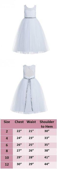 5f5ddad15e88 ekidsbridal Floral Lace Scoop Neck A-Line White Flower Girl Dresses Keyhole  Back Communion Dresses