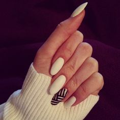 Most popular tags for this image include: nails, white, almond nails, graphic and black and white nails<33