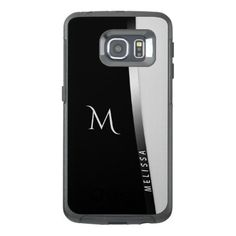 #initial - #Elegant black white silver name and monogram OtterBox samsung galaxy s6 edge case